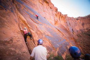 "Camp ""Dad"", Wacky, belaying me as I climbed."